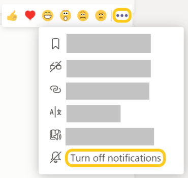 Image of Turn off notification setting in the more options menu in a channel.