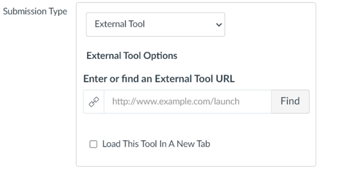 Submission type dropdown with External Tool highlighted