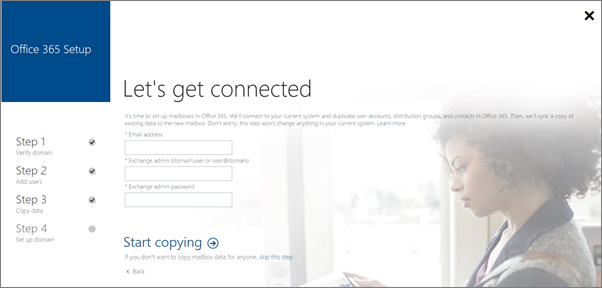 Enter account information to connect to your Exchange server.