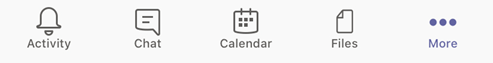 The tabs for Activity, Chat, Calendar, Files and More in Teams