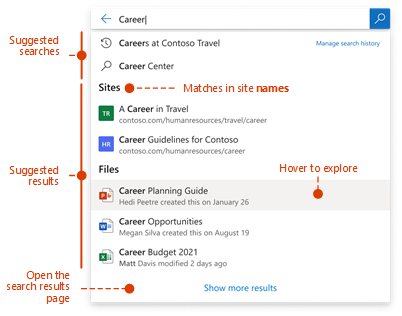 Screenshot of search box