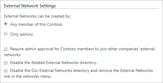 List of available external network settings