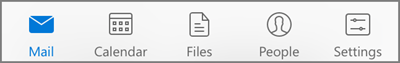 Select an icon to view your mail, calendar, people (contacts), files, or settings