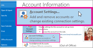 Select Account Settings > Account Settings.