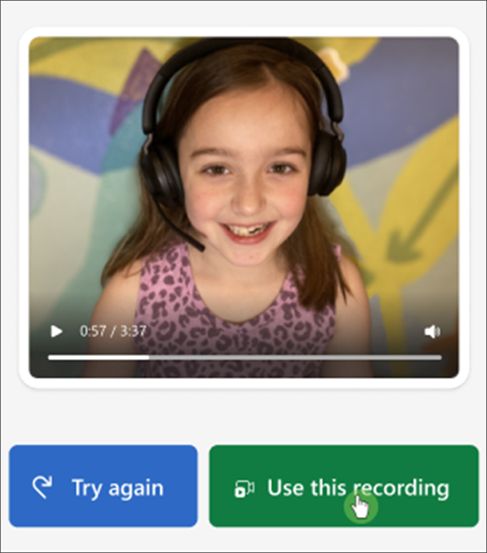 """Screenshot of the student view of reading progress, a white girl with a few missing teeth smile into the camera and buttons below her read """"try again"""" and """"use this recording"""""""