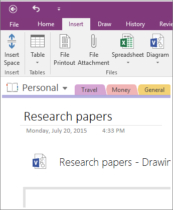 Screenshot of how to insert a new Visio diagram into OneNote 2016.