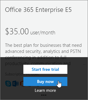 Buy now button for adding an Enterprise E5 subscription.