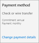 Screen shot of the 'Payment method' section of a Subscription card for a subscription that pays by invoice.