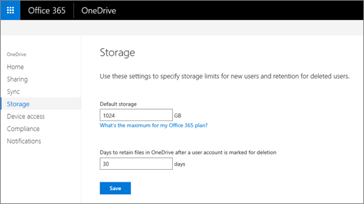 The Storage tab of the OneDrive admin center