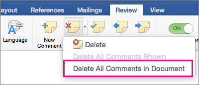On the Review tab, Delete all Comments is hightlighted