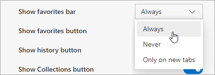 Select an option to show the favorites bar