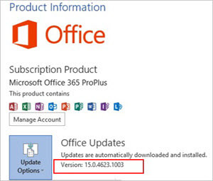 Office version at Office Updates