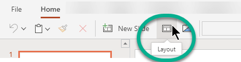 The Layout button on the Home tab in PowerPoint for the web.