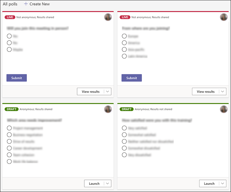 Microsoft Forms polls created in Teams in various states, such a live and draft