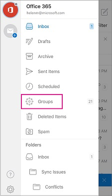 Groups folder in navigation pane