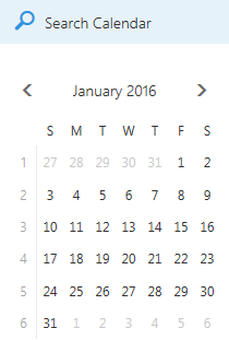 Calendar search box