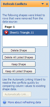 Refresh conflicts window listing shapes that no longer have a corresponding row in the data source.