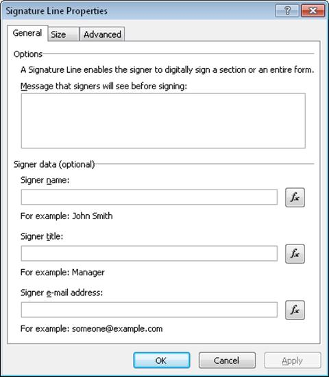 Signature Properties dialog box