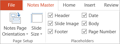 Placeholder check boxes on the Notes Master tab