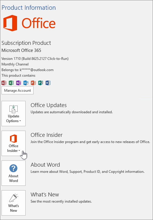 Office Insider in-app opt in.