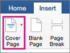 On the Insert menu, select Cover Page