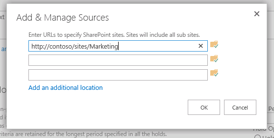 Add and Manage Sources dialog