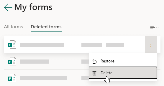 Deleting a form on the Deleted forms tab of Microsoft Forms.
