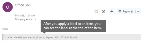 Label assigned to email in Outlook on the web