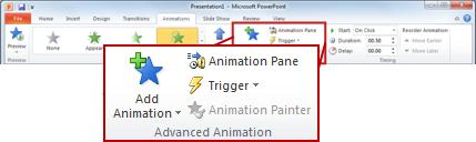 The Advanced Animation group on the Animations tab.