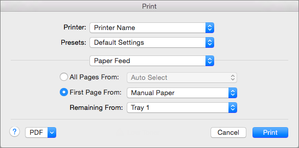 When you select Paper Feed in the Print dialog box, you can select paper sources.