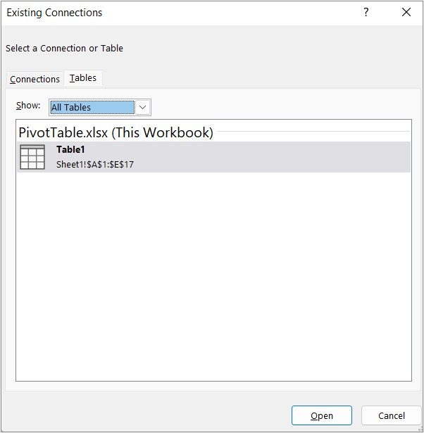 Tables tab in the Existing Connections dialog box
