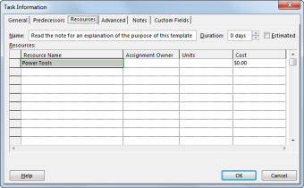 Resource tab in the Task Information dialog box