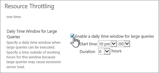 The Central Admin application settings page with Daily Time window highlighted