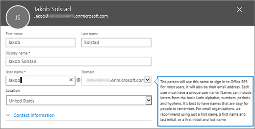 The user name and domain will be the user's Office 365 user ID.