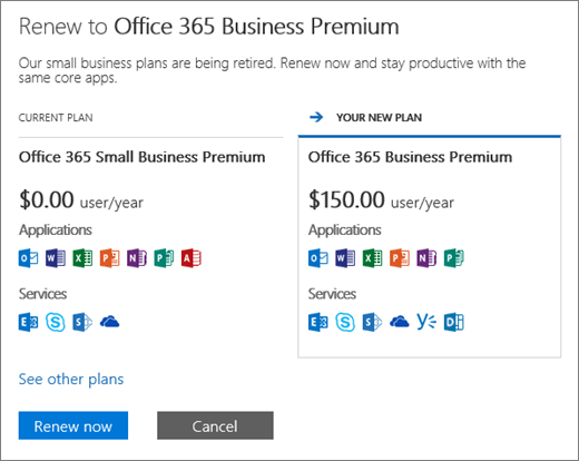 The renew pane showing your current Office 365 plan and the recommended new plan.