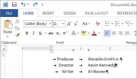 Text showing custom tabs