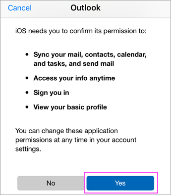 Tap Yes to agree to permissions.