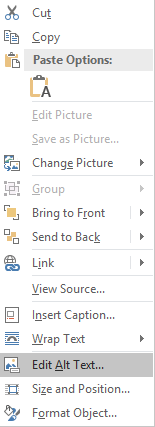 Context menu on selected image