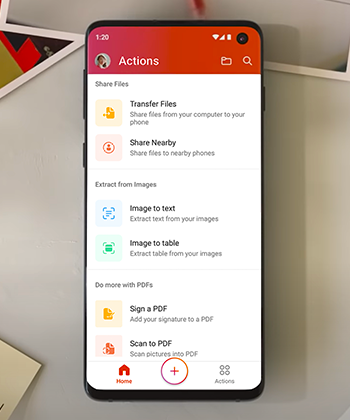 Actions menu in Office mobile on an Android phone