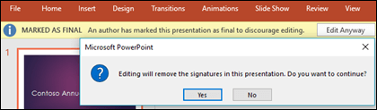 Click Edit Anyway to remove a digital signature from your file.