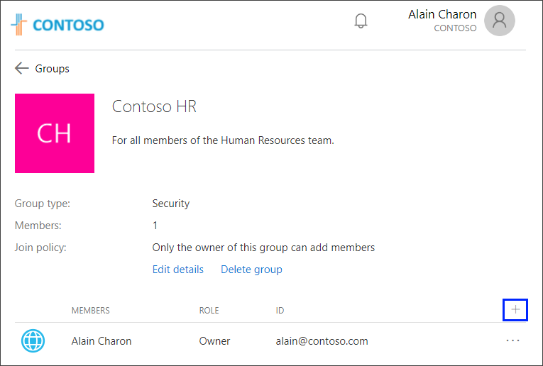 Add a group member, with + sign highlighted