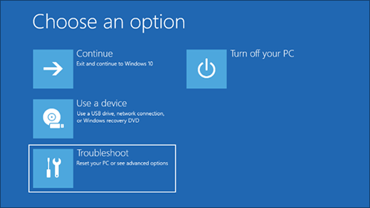 The Choose an option screen to reset your Surface to factory conditions using a downloaded recovery image.