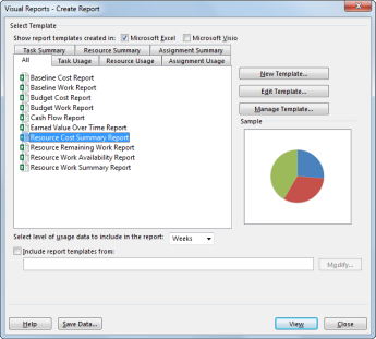 Visual Reports dialog box