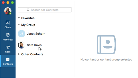 Click contact on the Contacts list