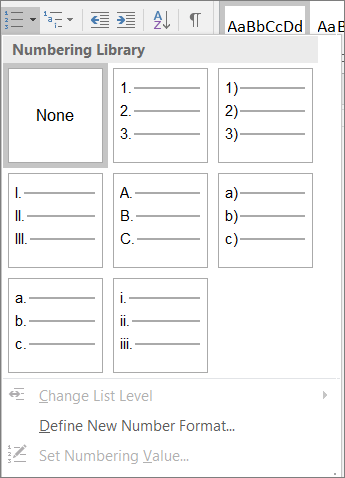 Screenshot of numbering style options