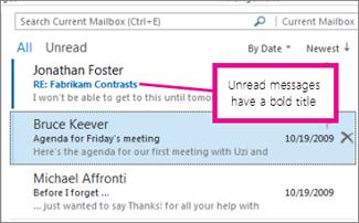 Unread messages have a bold title