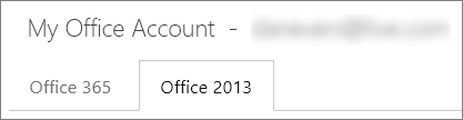 Office 2013 tab on the My Office Account page.