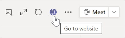 Screen shot of cursor pointing to globe icon and tooltip text Go to website