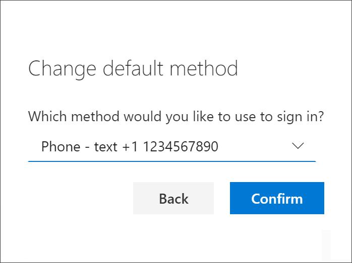Choose method for default sign-in