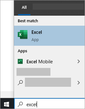 Screenshot of searching for an app in Windows 10 search
